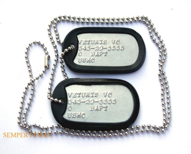 US MARINES CUSTOM 2 DOG TAGs NECKLACE CHAIN MCRD USS FMF MCAS MCB USMC AUTHENTIC