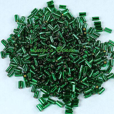 12g Silver-Lined Green Emerald #36 TOHO Japanese Glass Seed Beads Bugle #1 -3mm