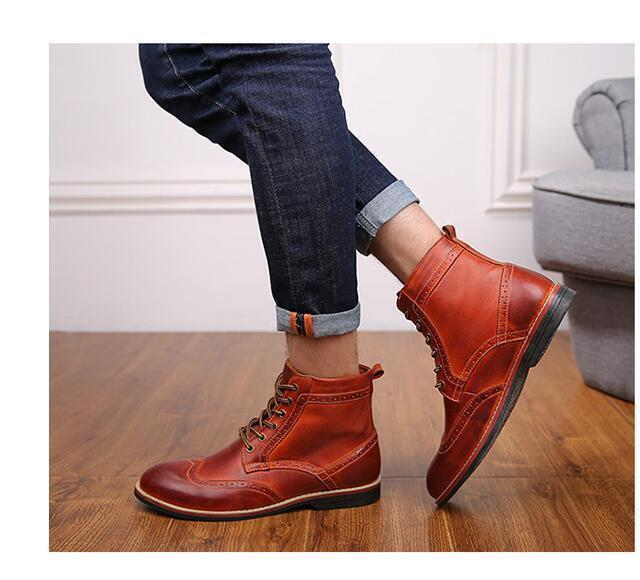British Retro Men's Leather Lace Up Wing-tip casual dress Oxford shoes 3 color