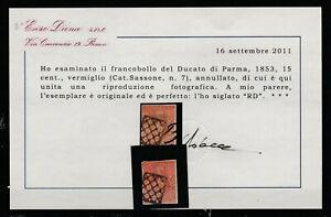 FRANCOBOLLI-1853-PARMA-C-15-VERMIGLIO-E-2528