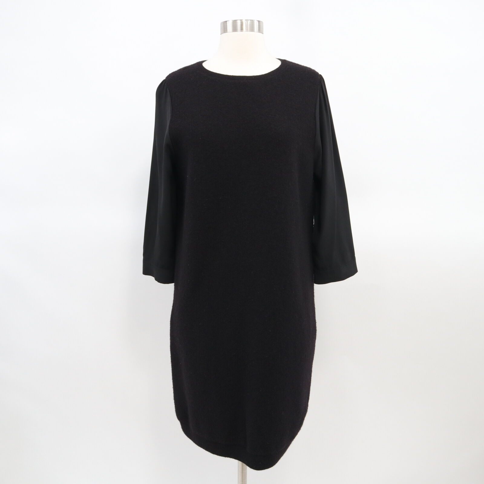 COS Sweater Jumper Dress damen Boiled Wool schwarz S Small Mixed Material Sleeves