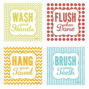 Flush When Done 4 Kids Bathroom 8x8 Posters Hang Your Towel Brush Your Teeth