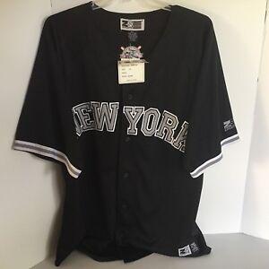 Zam-Sports-Mens-2XL-New-York-Baseball-Shirt-Button-Front-NWT