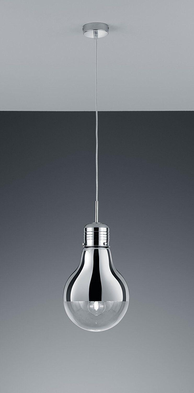 Moderne Glas Pendelleuchte   Glühbirne   Chrom    1 x E27   LED möglich