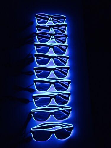 10 PAIA Blu Neon Occhiali da sole acquistare BULK Job Lotto Stag Do Festa LED Pack lotto