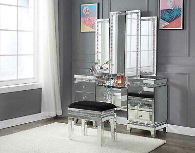 Acme Furniture Lotus Vanity Desk And Lighted Mirror Set Ebay