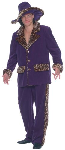 Da Uomo Viola Animal Print Trim 1920s Pimp Gangster Costume Vestito