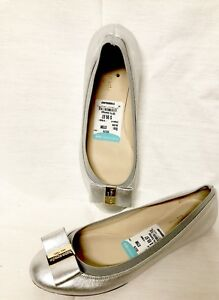 cc1b3aad3850 Image is loading KATE-SPADE-SILVER-METALLIC-LEATHER-BOW-BALLET-FLATS-