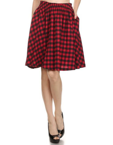 Work or Play Vintage Inspired Red Check Cotton Flared Full Skirt Hey Viv