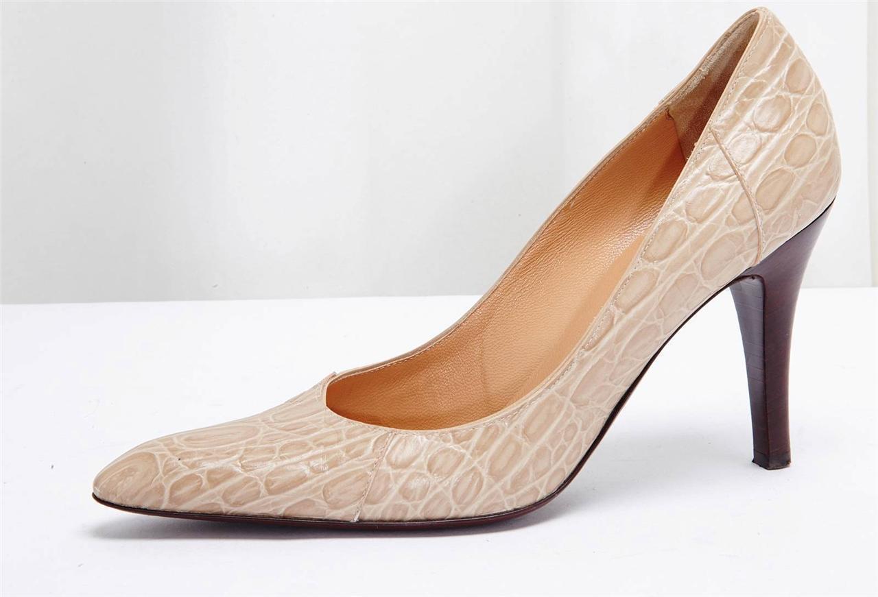 GIUSEPPE ZANOTTI VICINI Beige Stamped Leather High Heel Pump shoes 8.5-38.5