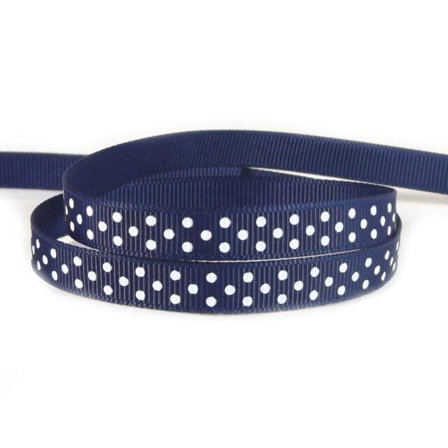 1 mtr 1 inch Polka Dot Spot Grosgrain Ribbon 15mm 22.5 mtr roll  UK Seller