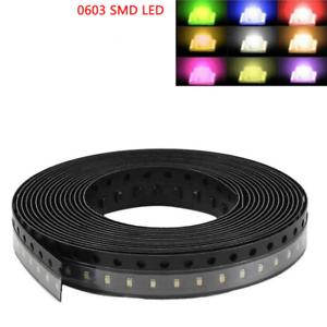 0603 SMD SMT LED Super Bright Light 7 Color Lamp Bulb Red Blue Yellow Orange DIY
