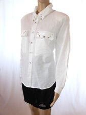 Womens Vtg White Linen Embellish Business Tailor Classic Office Shirt sz XL AD95