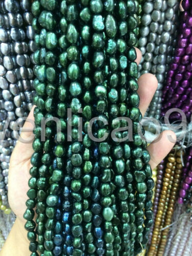 """nature 8-9mm Water Dark Green Freshwater Cultured Pearl Loose Beads 14/"""""""