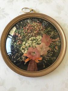 Cadre  Vintage Rond Médaillon Verre Bombé Fleurs Séchées 23  Cm De Diamètre