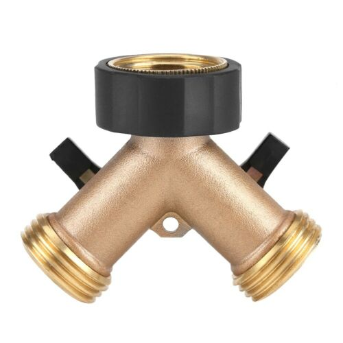 Brass Water Tap Adapter 2 Way Y Shape 3//4 Hose Connector for Garden Irrigation