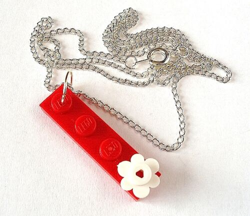 Flower Necklace made with LEGO plates Silver Plated brick kids party bag wedding