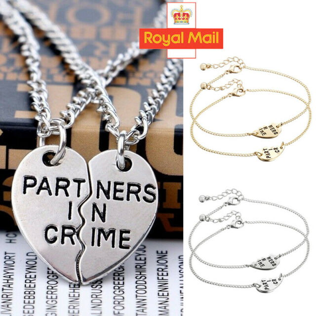 Sterling Silver Partners in Crime Heart Necklace