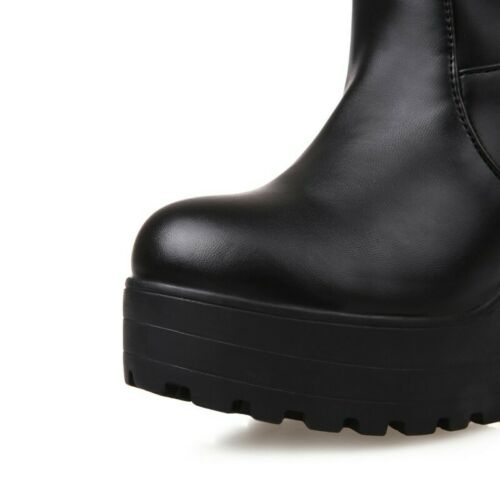 Details about  /Women Punk Goth Mid Calf Boots Platform Pleated Chunky Heel Non-slip Shoes 34-43