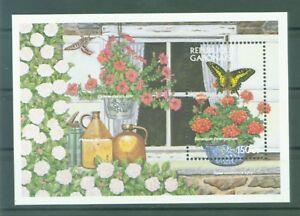 Gabun-Gabon-1997-Petunien-Geranien-Schmetterlinge-Schwalbenschwanz-Block-92