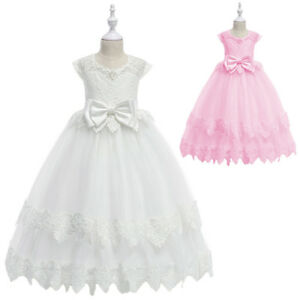 Princess Wedding Pageant Flower Girl Dress for Kid Bridesmaid Party Communion