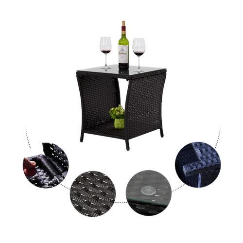 Black Outdoor Square Wicker Rattan Side Tea Table Patio Furniture w//Glass Top