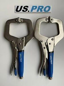 US-PRO-Tools-280mm-Welding-Locking-Mole-Grip-Pliers-C-Clamp-Set-of-2-1824