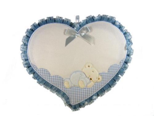 Fiocco Nascita Cuore con Orsetto Azzurro Con aida da ricamare a punto croce