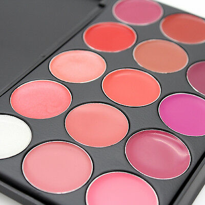 Professional 15 Color Beauty Makeup Palette Cosmetic Gloss Lipstick Lip Set