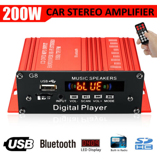 200W Car HIFI Audio Stereo Power bluetooth Amplifier AMP FM Radio USB TF AUX