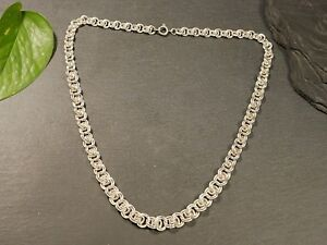 Tolle-835-Silber-Kette-Knoten-Jugendstil-Art-Deco-Vintage-Retro-Lang-Elegant