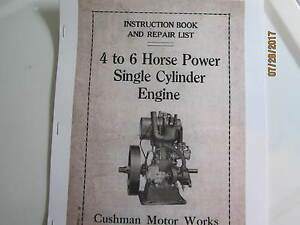 Details about Cushman 4 to 6 HP Single Cyl  Upright Gas Engine Instruction  & parts Manual