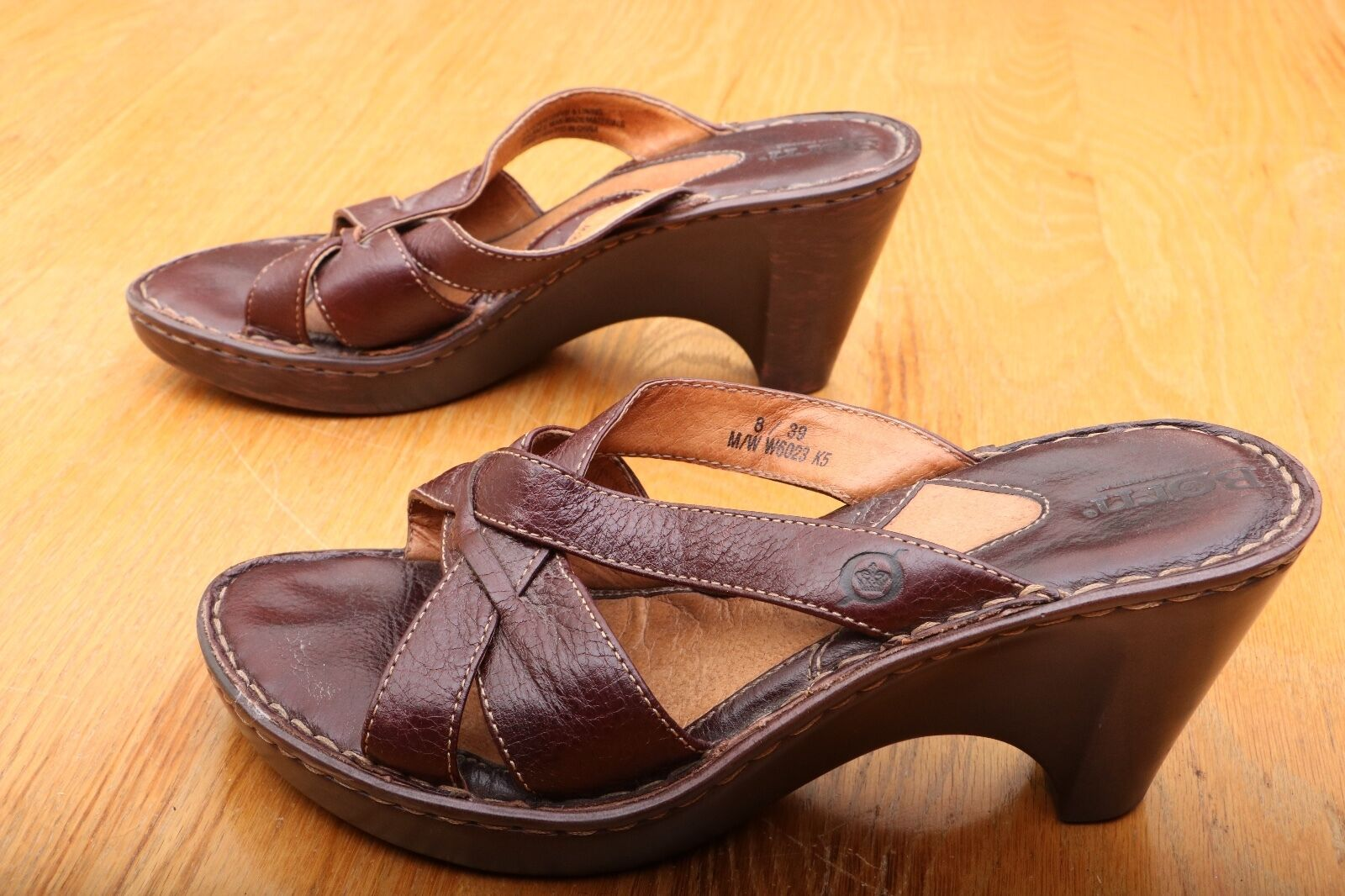 Born Brown Strappy Mule Clog Women's Size 8
