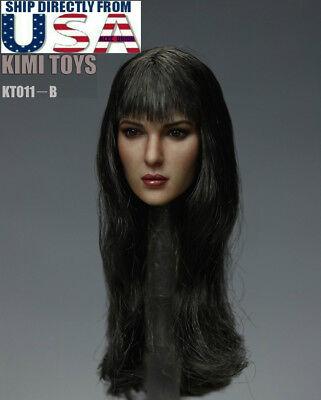 1//6 scale Female Head Sculpt Long Hair KIMI KT011 B For Phicen figure