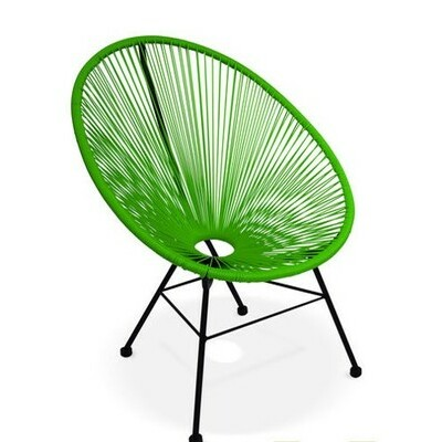 Fauteuil Acapulco chaise oeuf design rétro cordage Vert