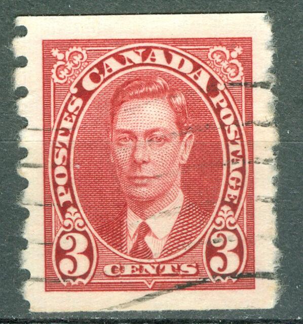 Canada 1937 3¢ King George VI Mufti Coil - Uni#240