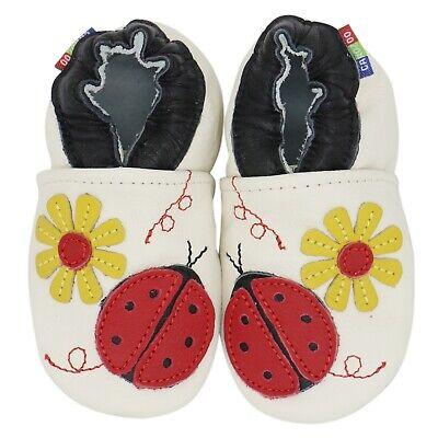 carozoo ladybug flower pink 4-5y new soft sole leather kid shoes