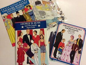 Tom Tierney Paper Dolls/Presidents/Roosevelt/George W. Bush/Abraham Lincoln VGUC