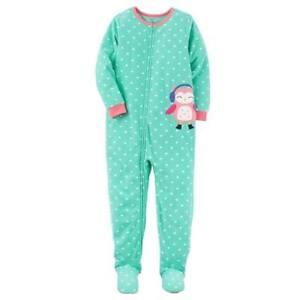 6e8b0eafe0fe Carter s Aqua Owl One-Piece Fleece Sleeper Pajamas Toddler Girl 4T ...