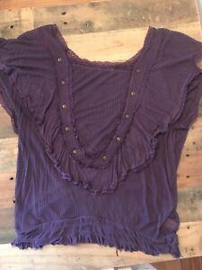 Women-039-s-Purple-Free-People-Short-Sleeve-Flutter-Blouse-Size-Medium
