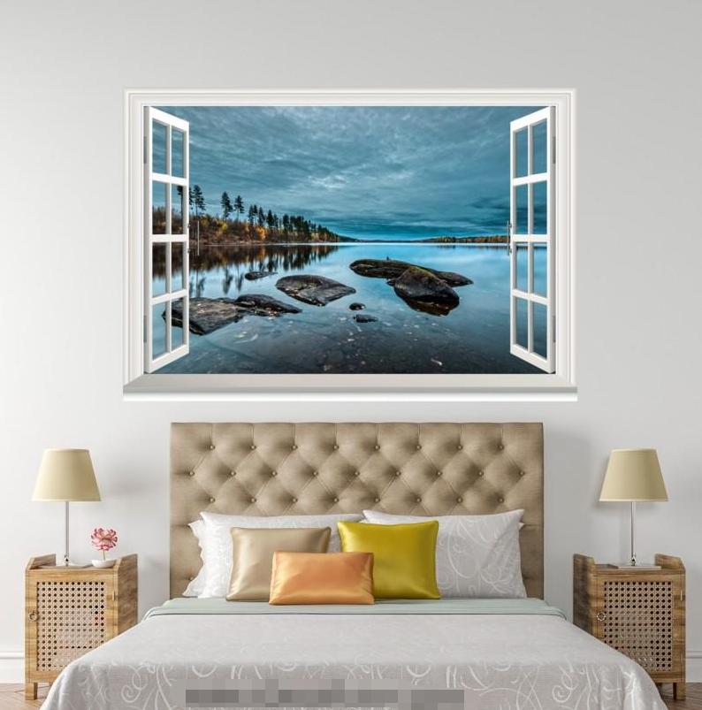 3D Tree River View 403 Open Windows Mural Wall Print Decal Deco AJ Wallpaper Ivy