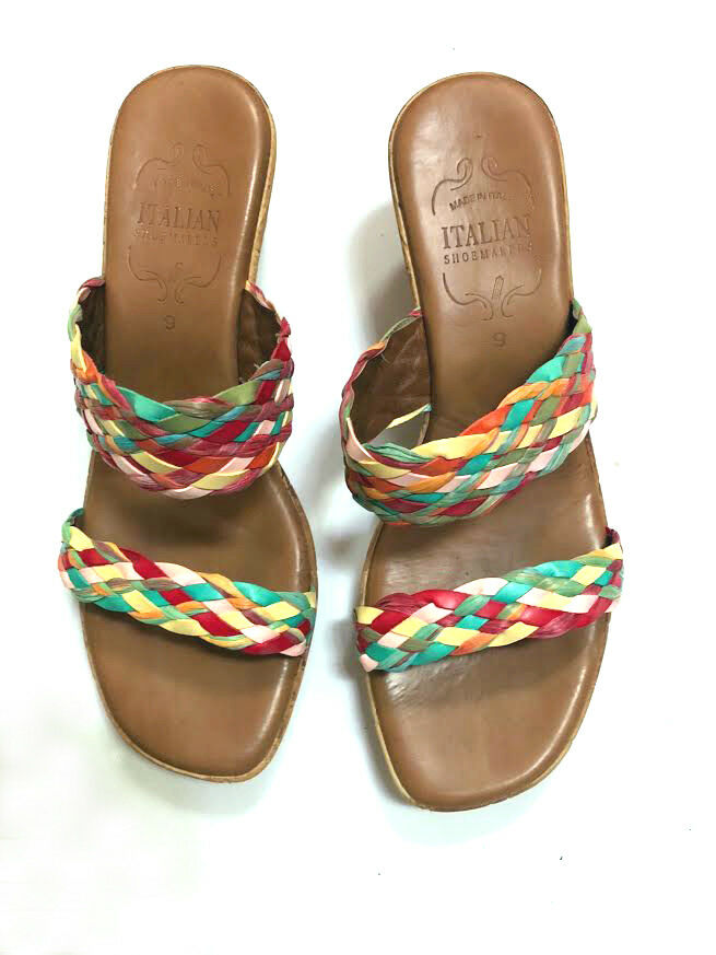 Italian ShoeMakers Wedge heel Multi color 9 straw open sandals sz 9 color Made in Italy 38be0c
