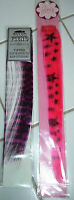 Lot Of Two (2) Nip Clip In Hair Extensions Violet / Black + Hot Pink / Black