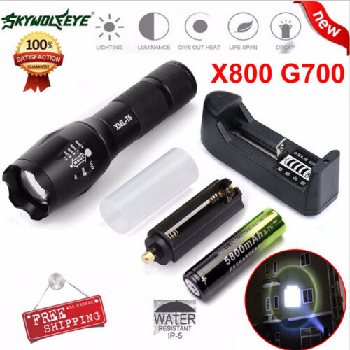 Sky Wolf Eye LED XM-L Flashlight Zoomable LED Battery Charger Torch Lamp