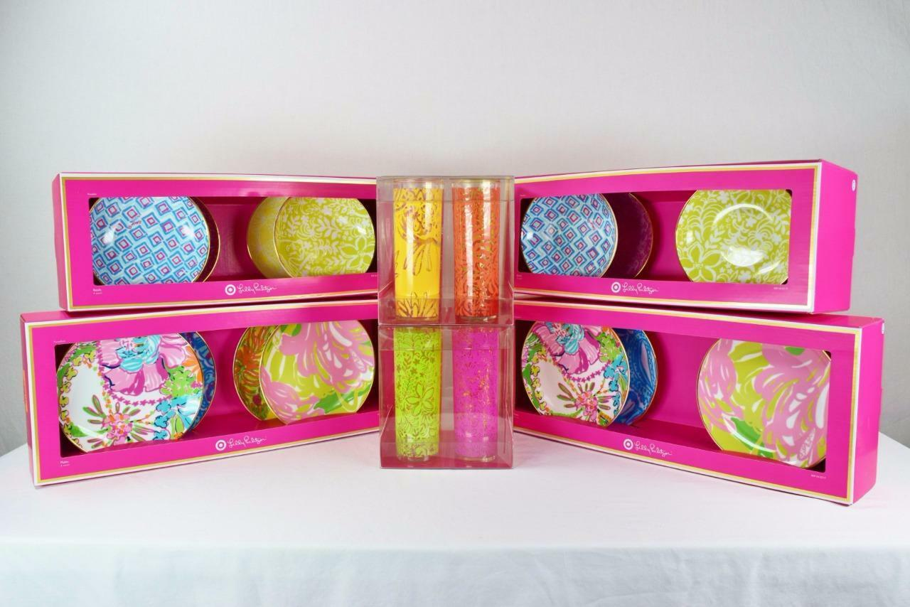 Lot de 24 pc Set de 8 bols 8 planches 8 Tumbler Glasses Lilly Pulitzer Pour Target