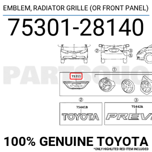 Radiator Grille Emblem 75301-28190 Accessories for Toyota Front Panel Black