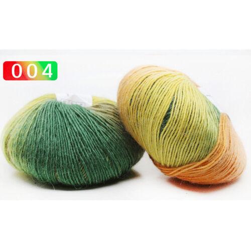 Sale Soft Cashmere Colorful Rainbow Wrap Shawl DIY Hand Knit Yarn 50gr ball LOCA