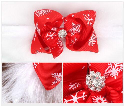 Baby Girls Toddler Christmas Bow Feather Snow Flower Hair Headwear Headband US