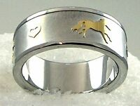 Horse Heart Ring Love Two-tone Silver Gold Band Stainless Steel Sz 5-9