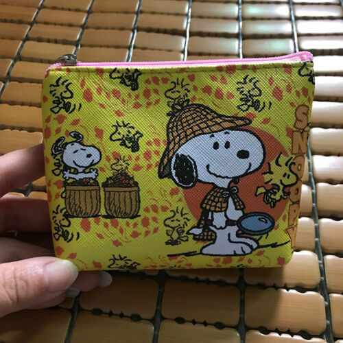 Cute Yellow Snoopy Small Wallet Coin Purse Key ID Bag Keyring Gift